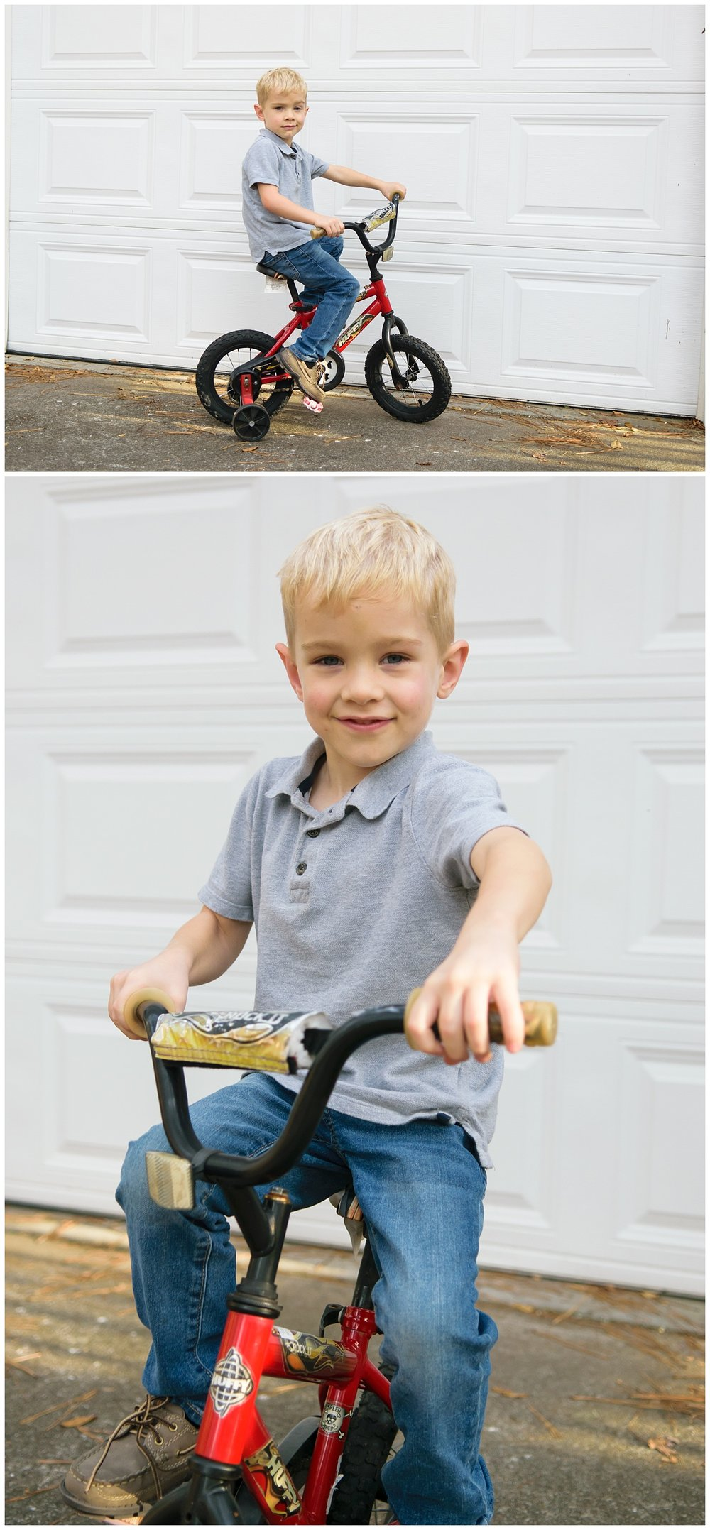 these are images of a young boy sitting on his bike in front of the family's garage in lilburn georgia. the images were taken during an in home lifestyle family session.
