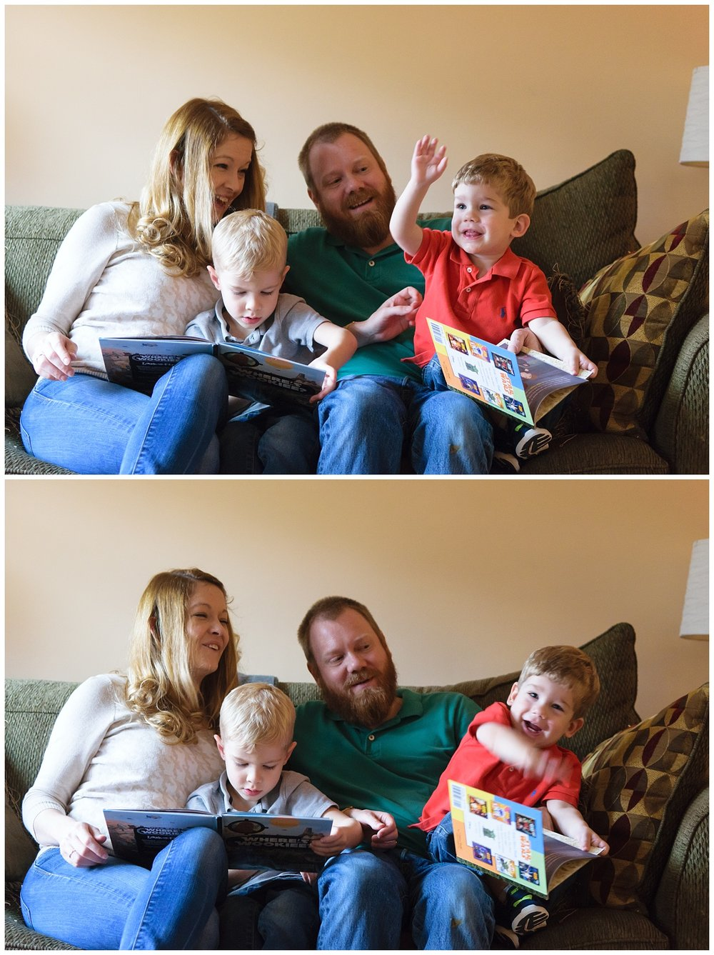 these are images of a family sitting on the couch reading books together during an in home lifestyle family session.