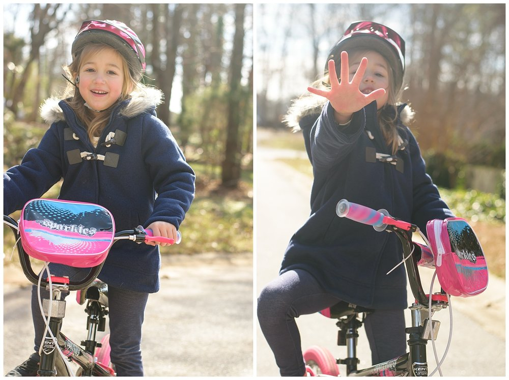 these are side by side images of a young girl riding her bike in the family's frontyard. the images were taken during a lifestyle family session in dallas, georgia.