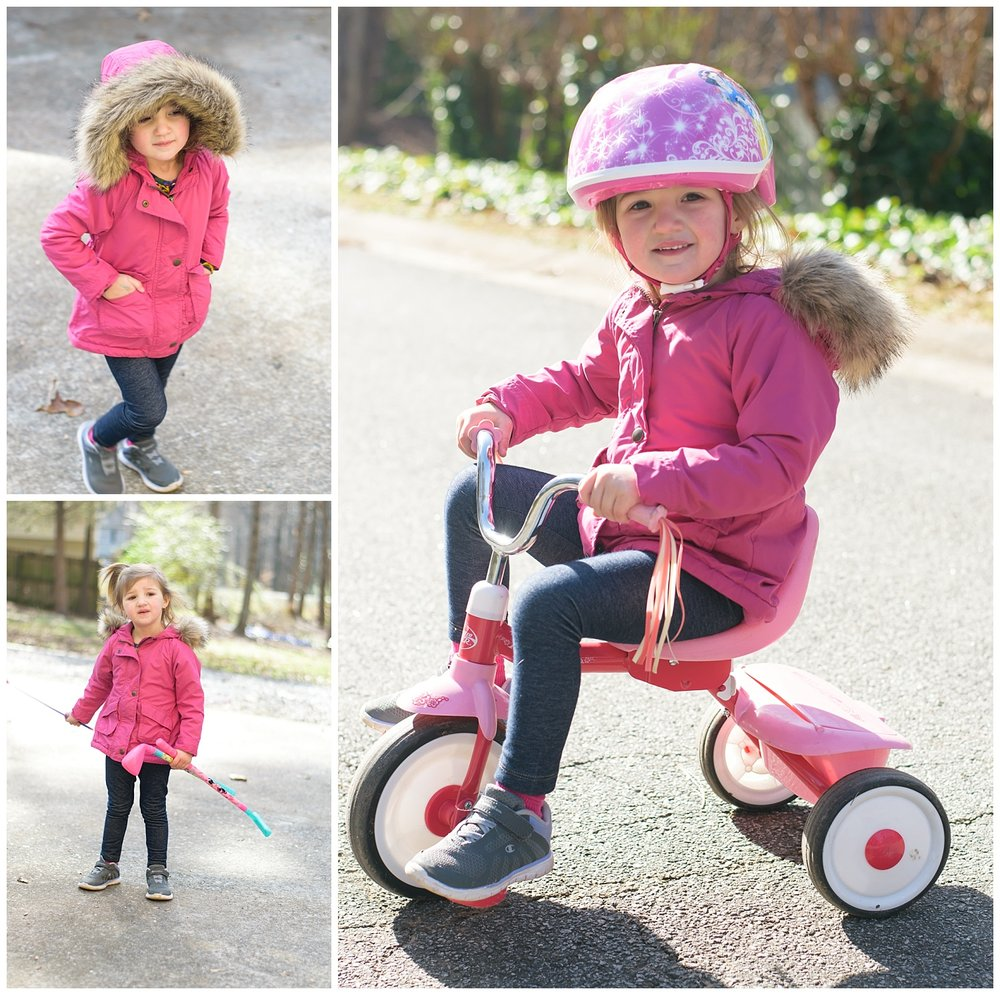 these are side by side images of a toddler young girl on her new bicycle. these images were taken during an in home lifestyle family session in dallas, georgia.