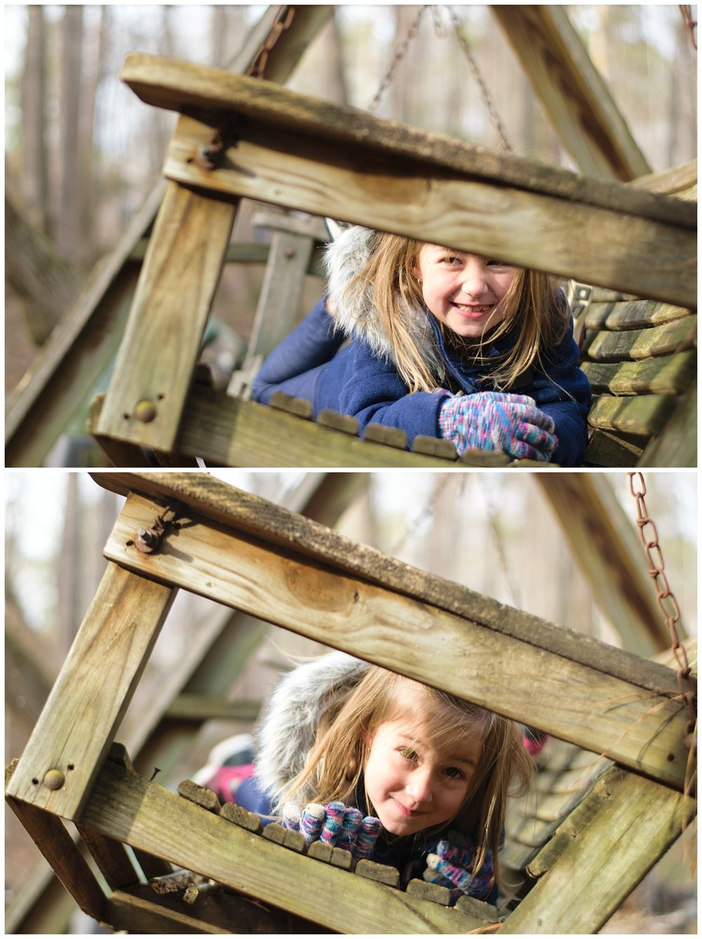 these are images of a young girl during a family lifestyle holiday session in dallas georgia. the girl is laying on a bench swing in the family's backyard and smiling at the camera.