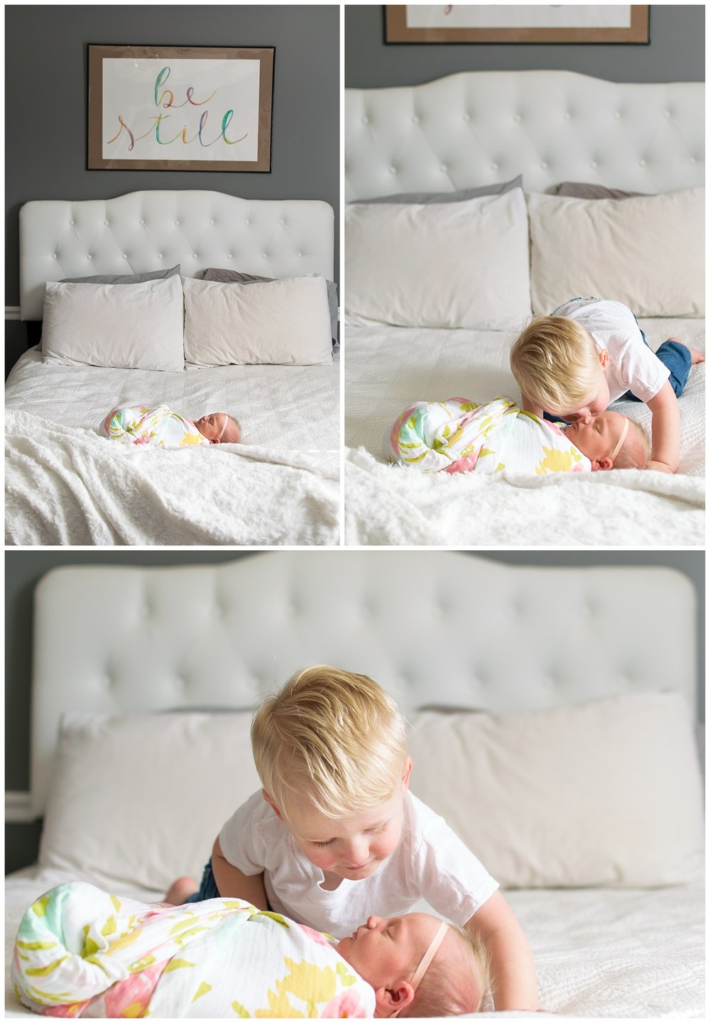 these are images from an in home lifestyle newborn session. the newborn baby girl is laying on the bed in a swaddle and her big brother is kissing her on the cheek.