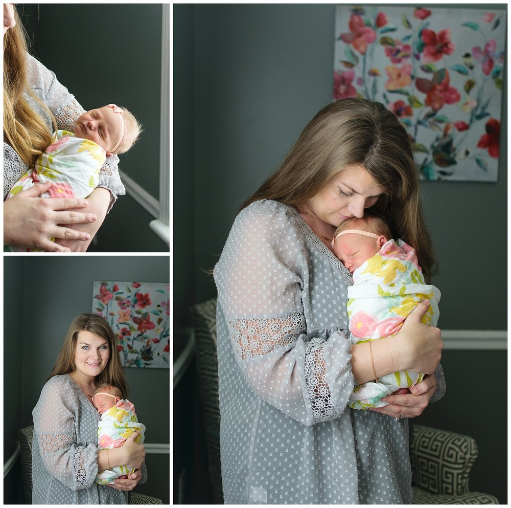 these are images taken during an in home lifestyle newborn family session. mom is holding the newborn baby girl against her chest and standing next to the window.