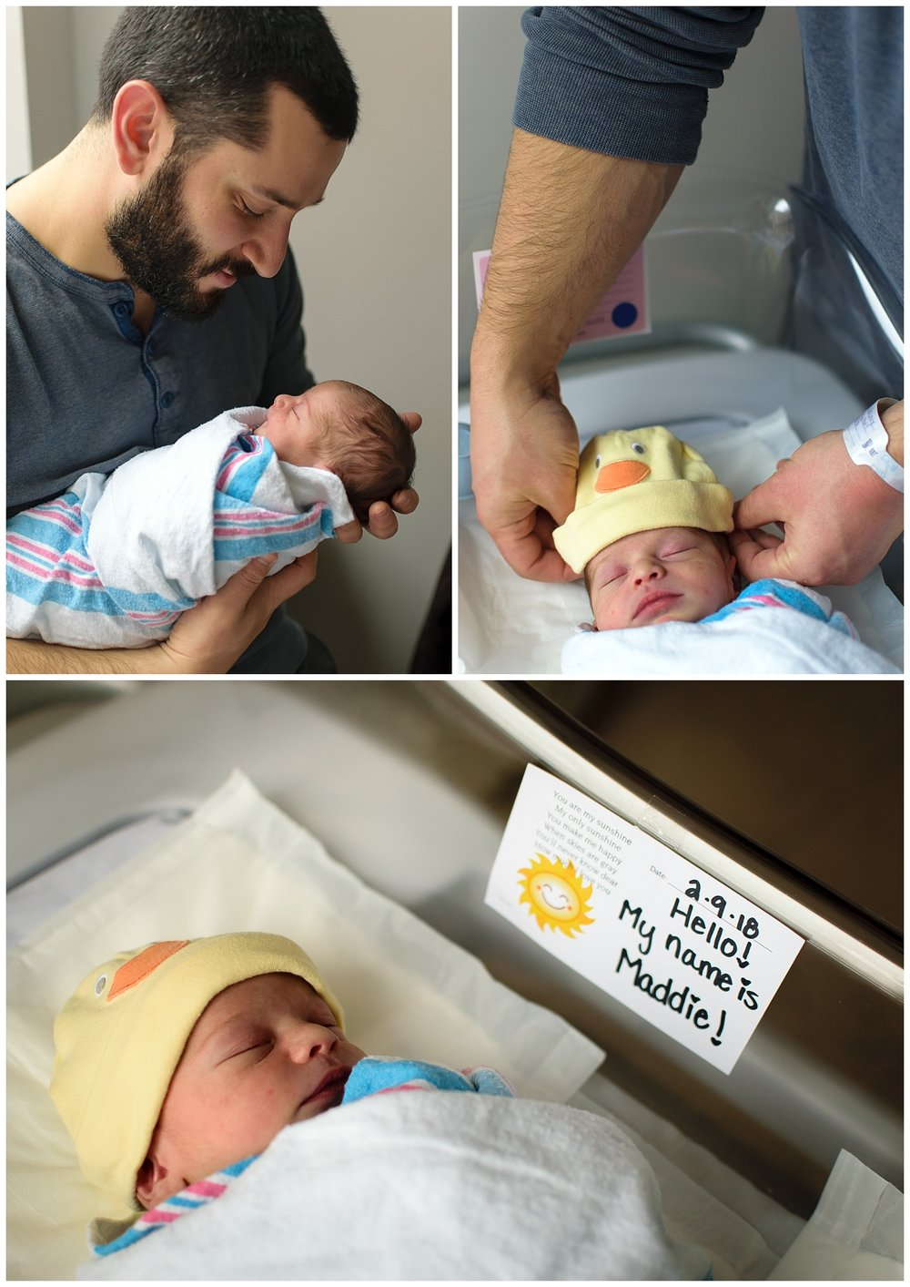 these images were taken during a fresh 48 newborn session. dad is holding the newborn baby girl and putting on a hat while she is laying in the bassinet.