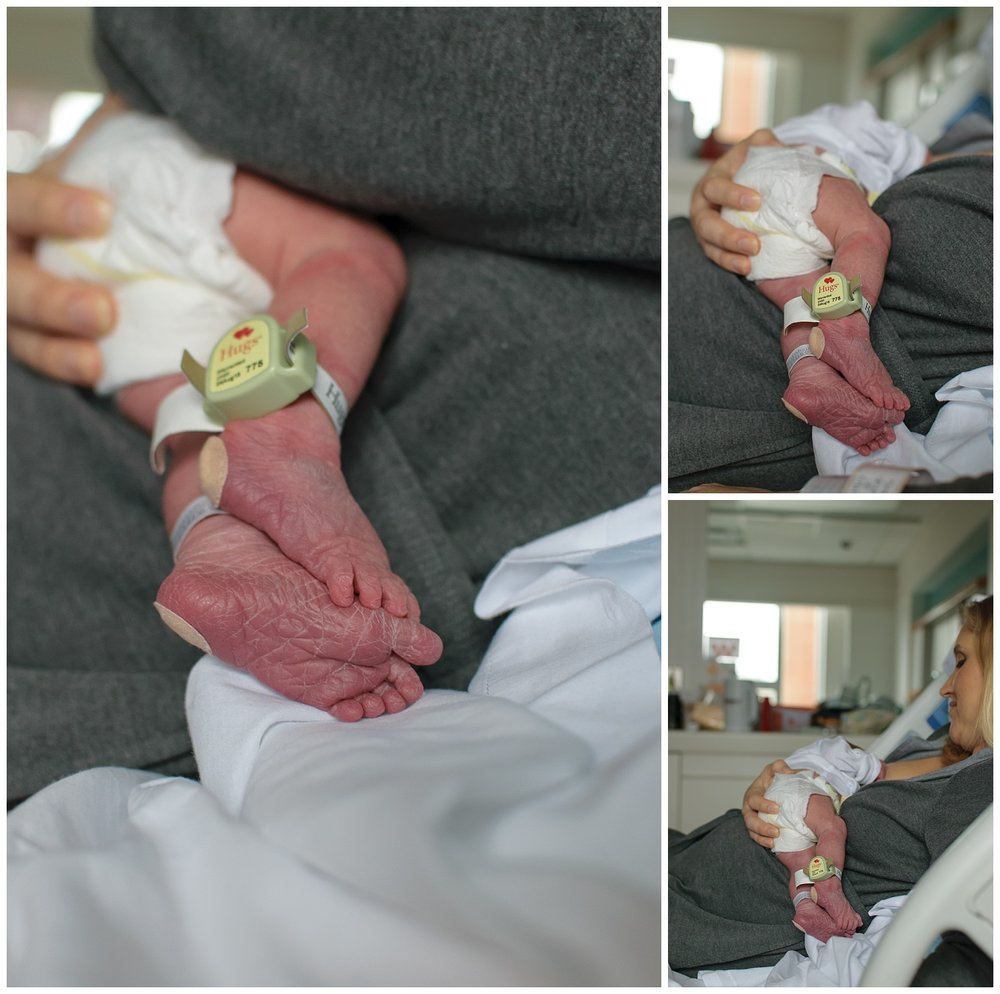 these are images of a newborn baby girl being nursed by her mother while her mother is laying in a hospital bed during a fresh 48 session in atlanta georgia.