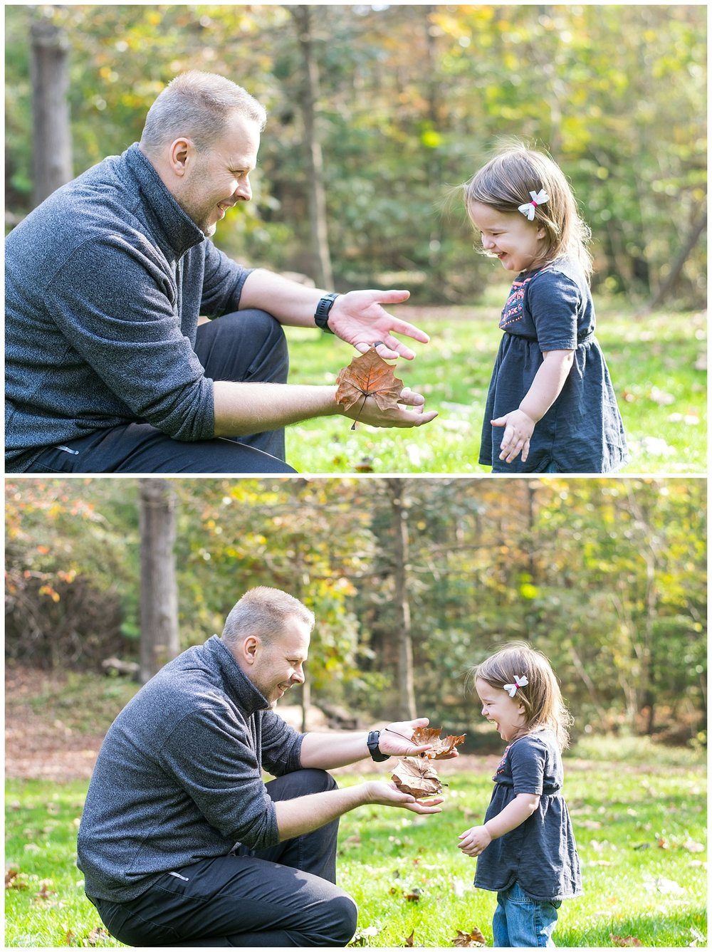 these are lifestyle family photos of a father and his toddler girl playing with leaves at the park. the images were taken at hahn woods in decatur, georgia