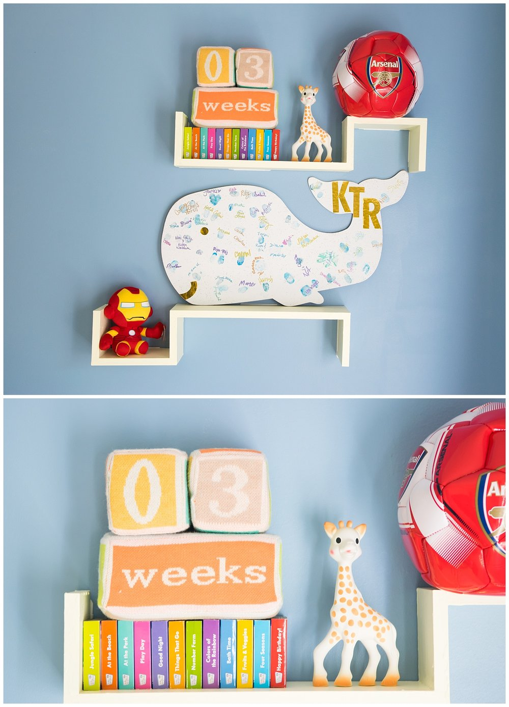 these are close up images of a newborn baby boy's nursery details during an in home lifestyle newborn session in decatur georgia