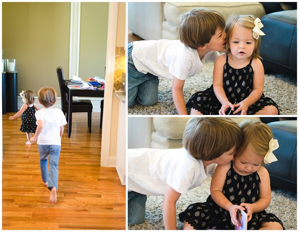 these are images of a young brother and sister playing together during a documentary in home sunday funday family session in decatur georgia
