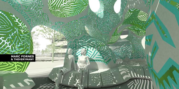 MARC FORNES THEVERYMANY La Verne Los Angeles Rhino Grasshopper Meta Balls Pavilion Space Maker