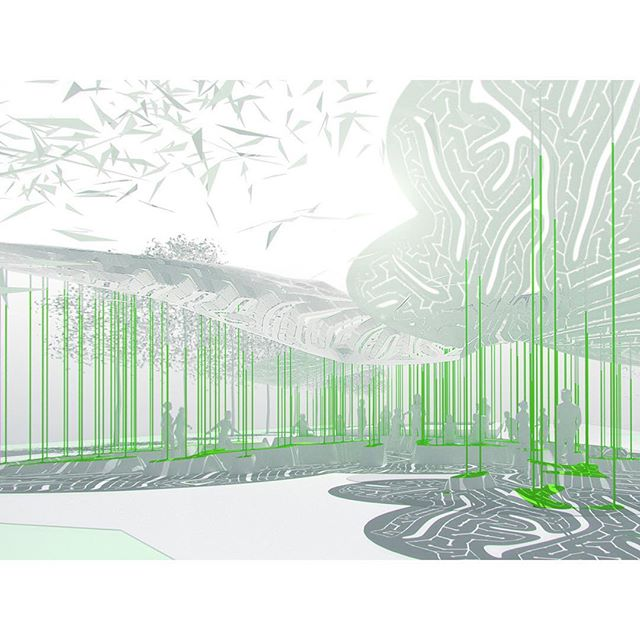 #WIP ___ a field of columns supports our artificial canopy in the park 🌱 they resolve into a subtle terrain in the shade below 🏔 space for seating and play 🤸♀️ #new #work for #bellevue #washingtonstate . . . #inprogress #developing #proposal #concept #render #rendering #computational #design #digital #fabrication #labyrinth #leafy #structure #architecture #architectural #design #park #pavilion #comingsoon #bellevuewa #marcfornes #theverymany