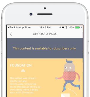 Headspace  makes certain features available to premium subscribers.
