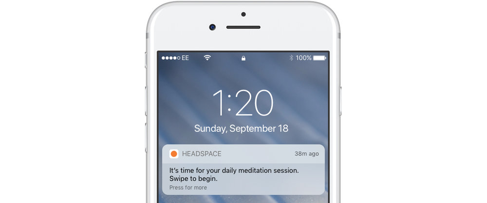 A mobile push notification ios app headspace
