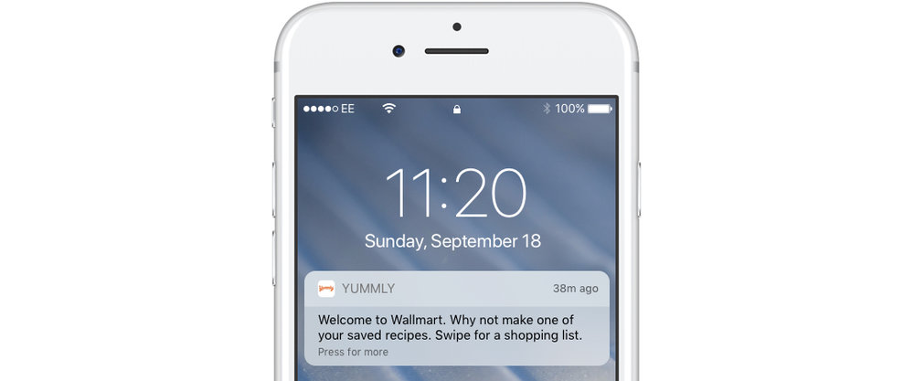Recipe apps can benfit form a push notification strategy that includes location
