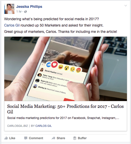 Facebook post by Jessika Phillips sharing the social media marketing predictions