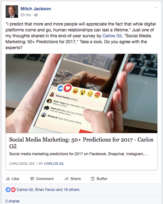 Mitch Jackson shared Social media marketing predictions article to his Facebook feed