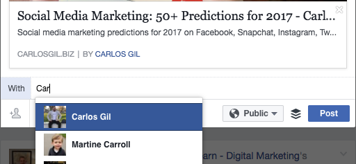 Tagging Carlos Gil in Social Media Marketing predictions article
