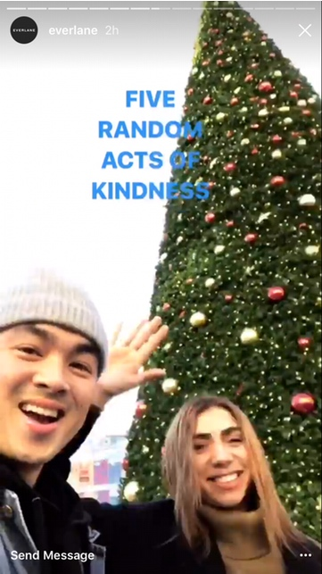 Everlane five random acts of kindness screen shot on Instagram Stories