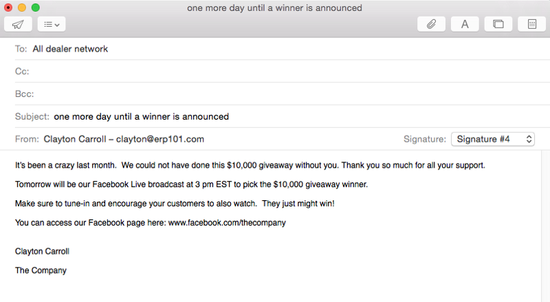 Email to dealer network about the social media giveaway 2
