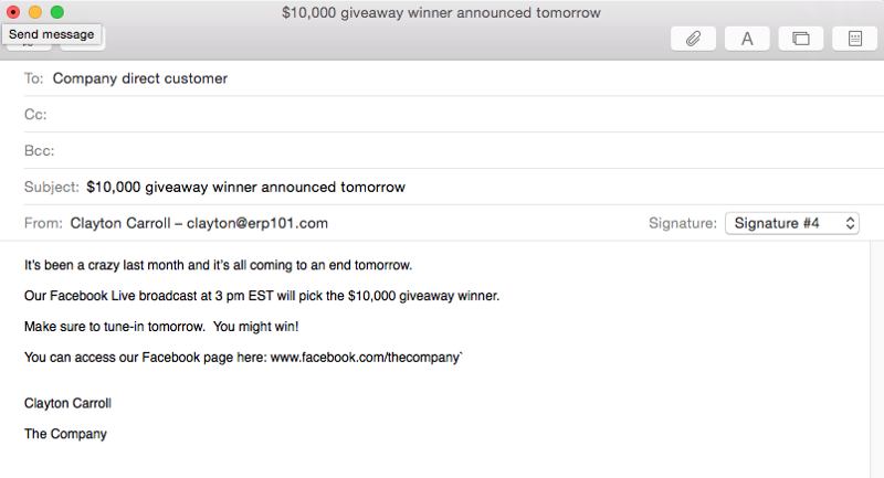 Email to customer list about social media giveaway 2