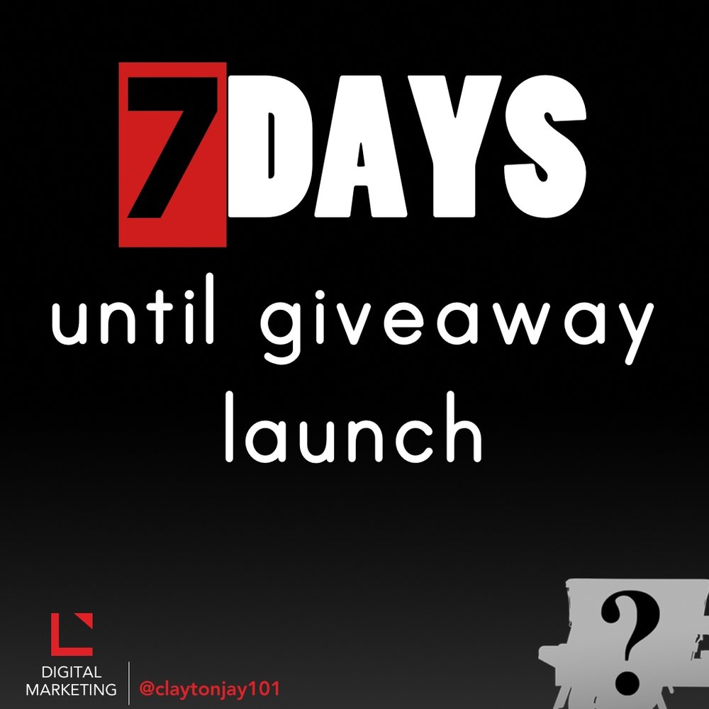 7 days until the social media giveaway launch