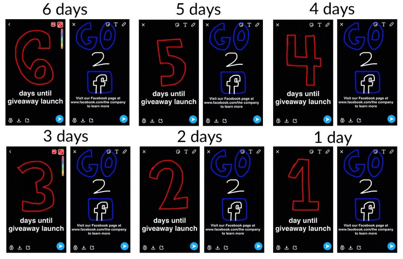 Promoting 6 days until social media giveaway launch on Snapchat
