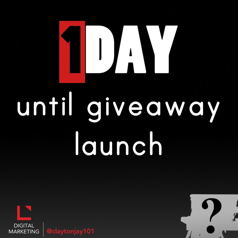 1 day until the social media giveaway launch
