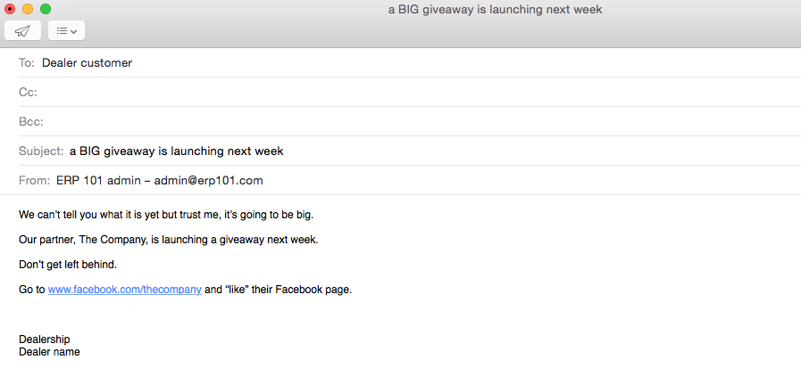 email to dealer network announcing the upcoming social media giveaway 2