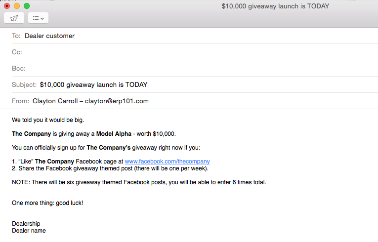 email to dealer network announcing the upcoming social media giveaway 3