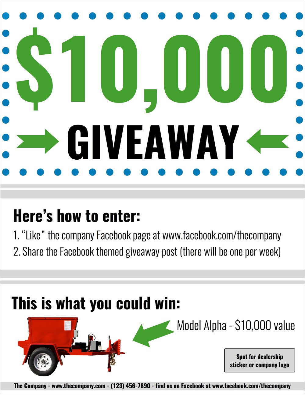Giveaway handout for dealers to promote the social media facebook account