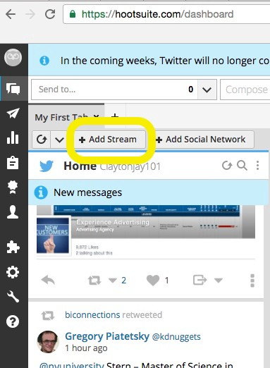 How to setup a Hootsuite Twitter Stream for competitor or company mentions on social media 1