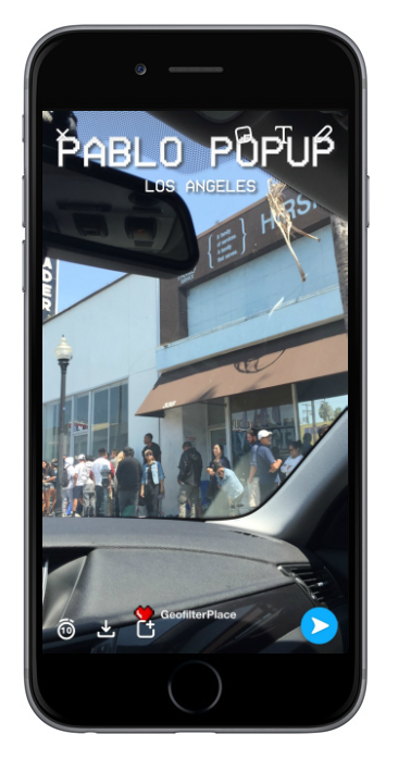 Snapchat On-Demand Geofilter for Pablo Popup shopping event in Los Angeles