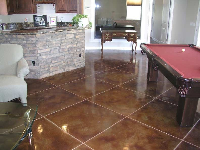 Stained Concrete Floors For A Traditional Family Room