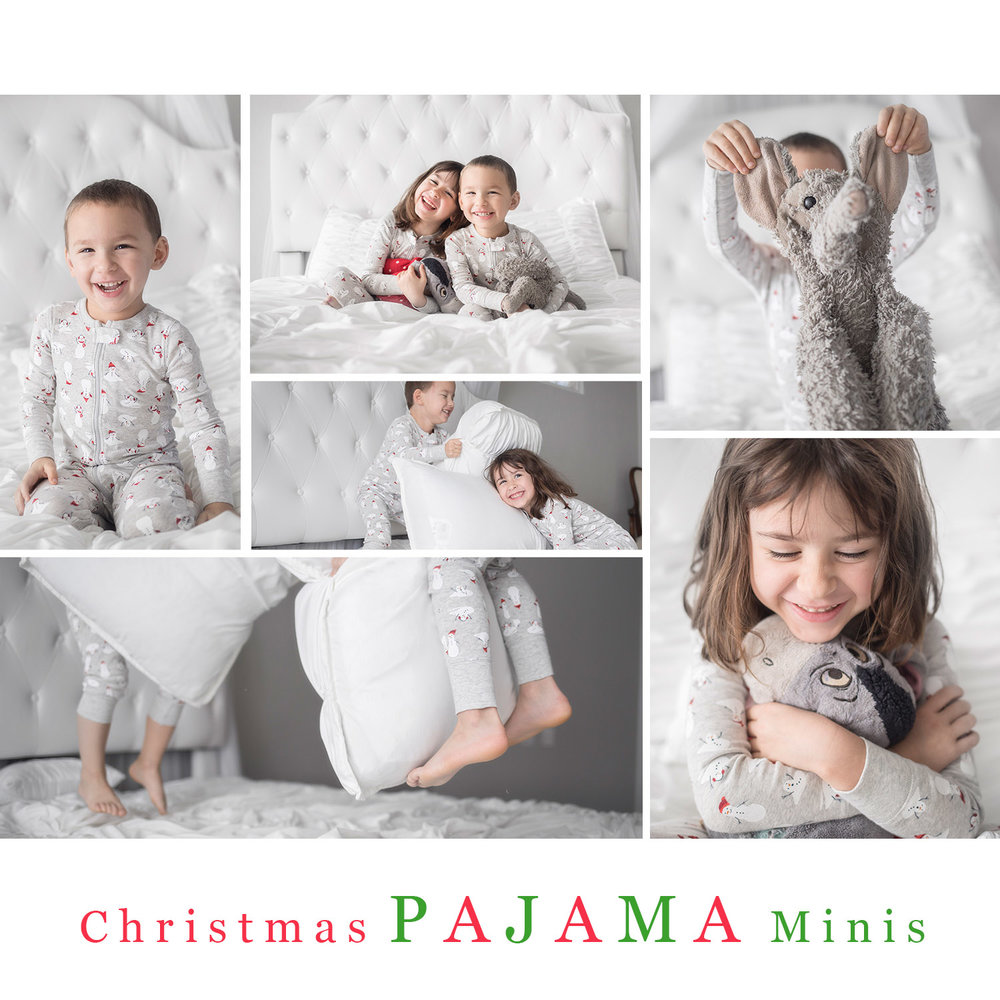 Collage of images with siblings in their christmas pajamas on a white bed in a studio located in Oklahoma City.
