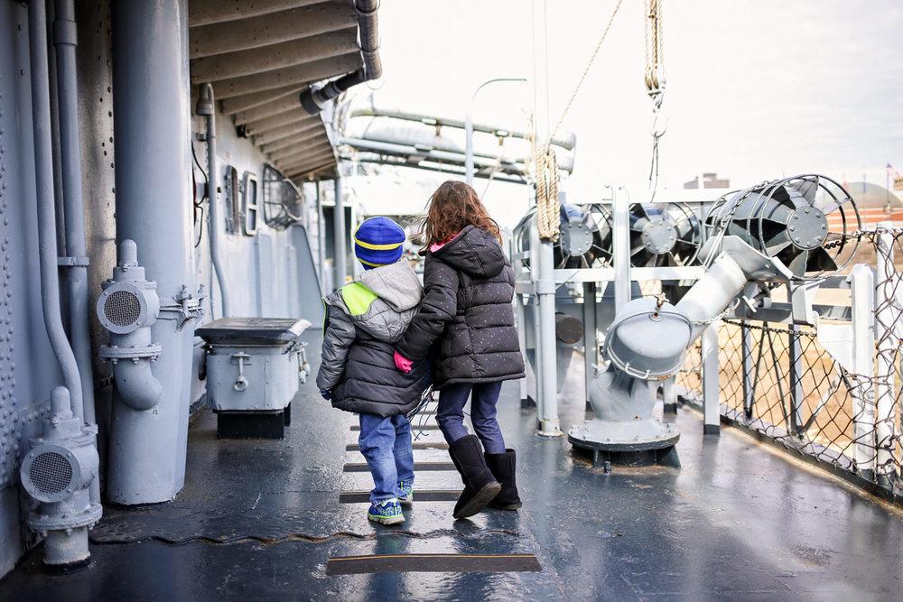 Siblings exploring the USS Kidd in Baton Rouge, LA.