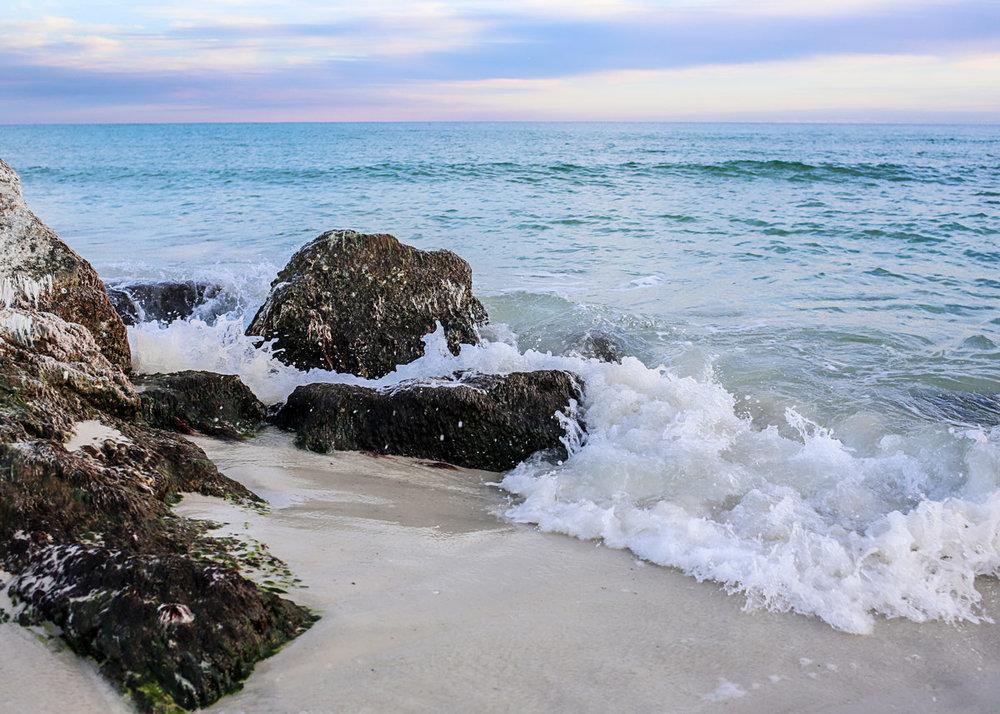 Rocks and Waves at Alabama Point, Orange Beach, Alabama by Amanda Lynn.