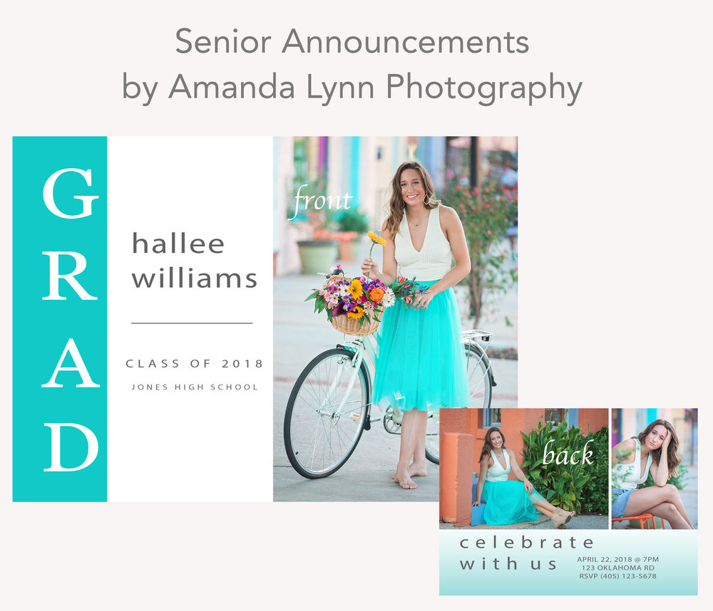 Example photo of The Hallee, high school senior announcement made by Amanda Lynn Photography, Oklahoma City.