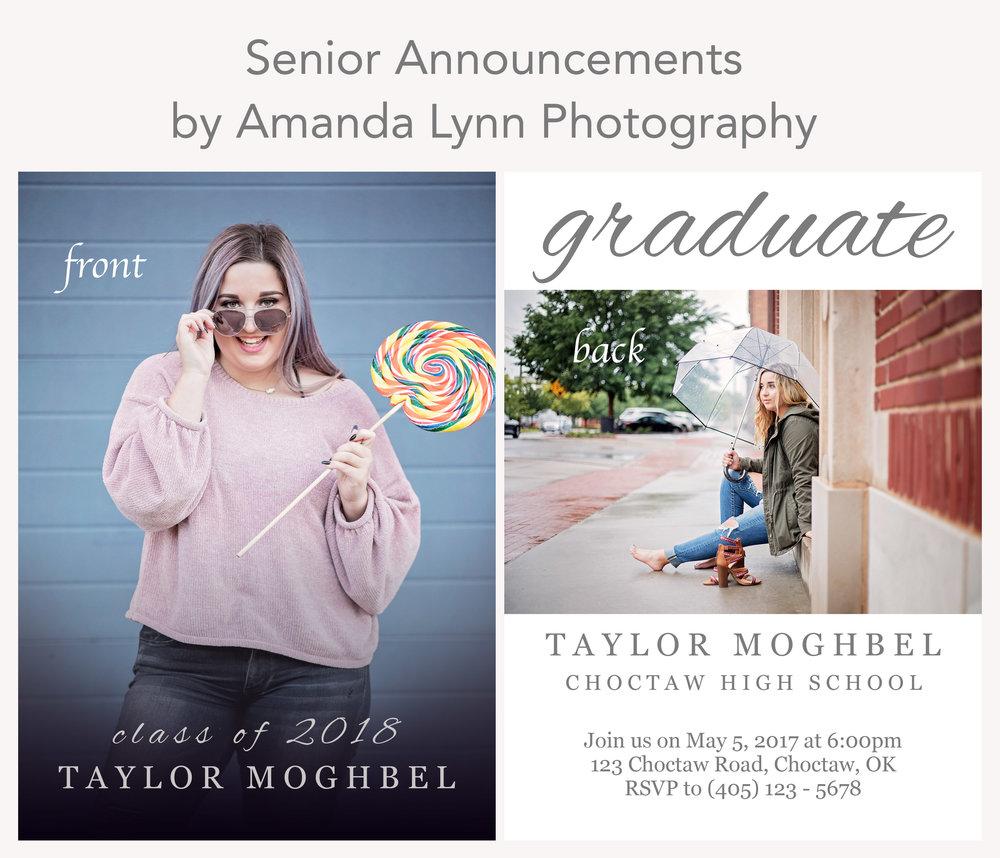Example photo of The Taylor, high school senior announcement by Oklahoma City Photographer, Amanda Lynn.