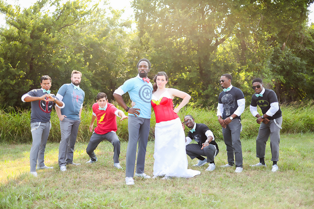 Bide and groom and groomsmen dressed like super hero at wedding in Oklahoma City by Amanda Lynn Photography.
