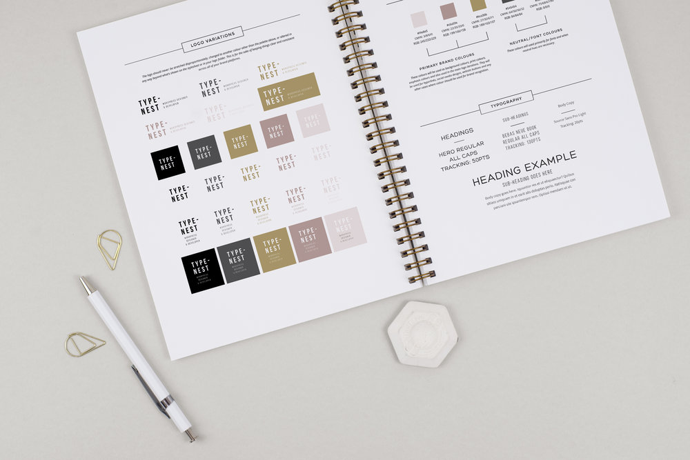 typenest brand style guide example mockup