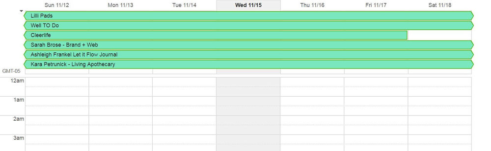A preview of how I keep track of client projects in Google Calendar