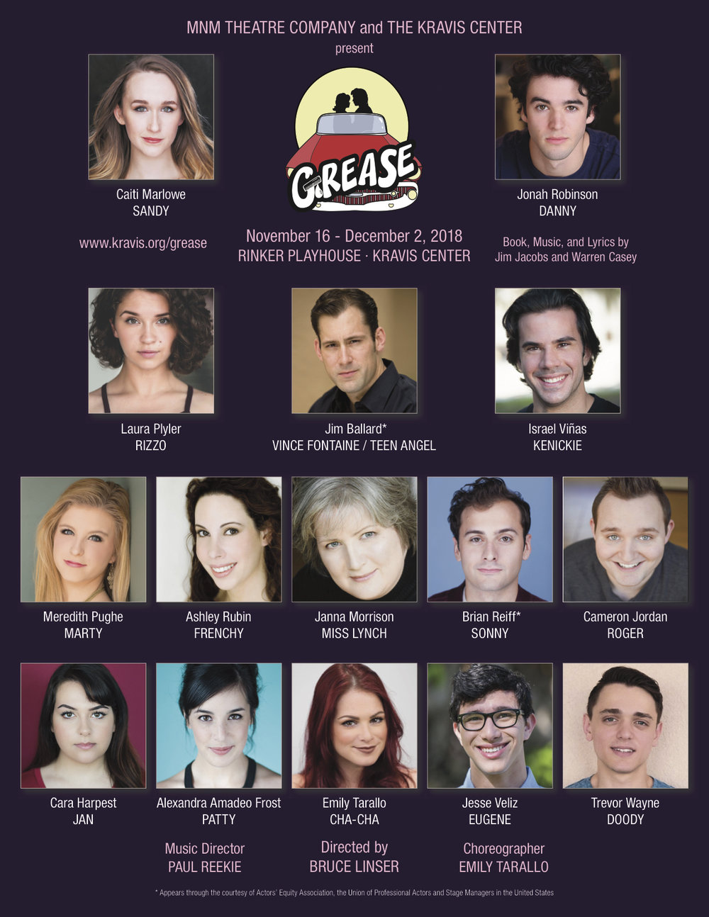Coming soon! - I am currently playing Roger in Grease at the Kravis Center in West Palm Beach, FL!I am so excited to be making my MNM Theatre Company debut with such a talented cast!For more information visit Kravis.org!