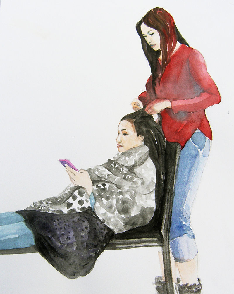 Portrait of nail techs, Fabriano paper, 9 x 11.5 inches