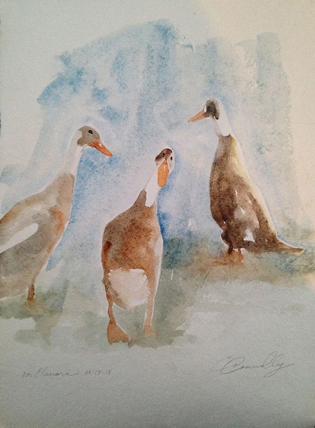 Elanora's teenage ducks: watercolor, handmade paper cp, 10 x 13 in / 26 x 33 cm