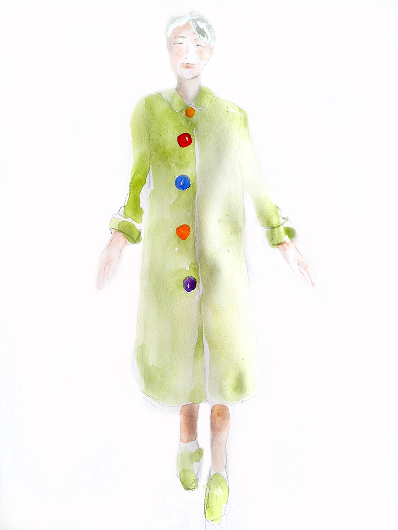 Lime green coat in Berlin: watercolor, sketchbook, 7 x 9 in / 18 x 23 cm