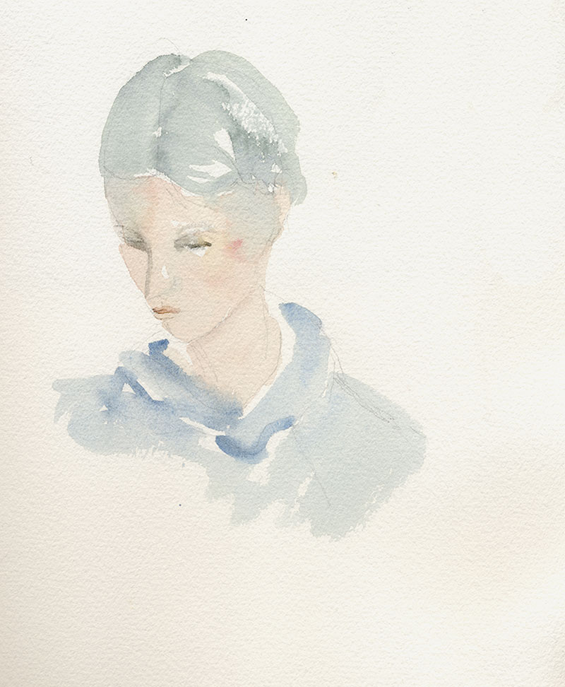 Catherine in Tuscany: watercolor, sketchbook, 7 x 9 in / 18 x 23 cm