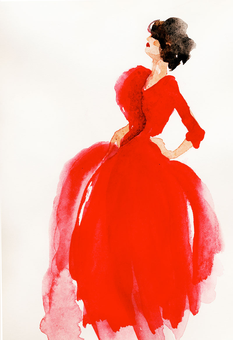 Red Dress: watercolor, Arches 140# hp, 9 x 12 in, 23 x 31 cm, Client: St. Jude Red Carpet for Hope gala event