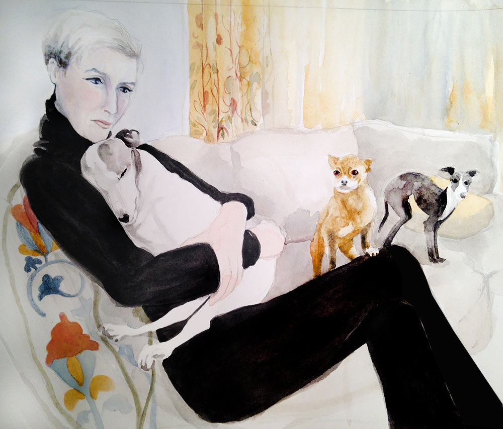 Kris, Stewie, Lola and Mia: watercolor, Arches 140# hp, 10 x 14 in / 26 x 36 cm