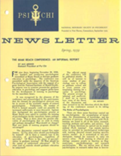 Spring 1959 Psi Chi Newsletter