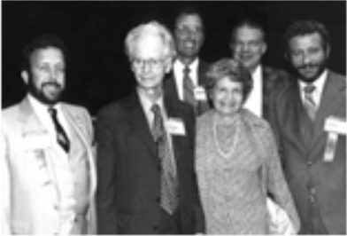 B.F. Skinner, Psi Chi member and Distinguished Lecturer, with Ruth Cousins and members ofthe National Council at the Toronto National Convention.