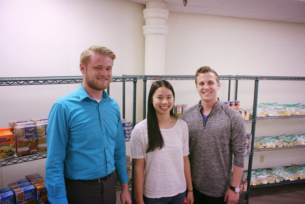 Our Founders - Co-founders (left to right) Thomas Rosenberger, Katie Watson, and Alec Admonius opened the doors to the food pantry for the first time March 30, 2016.